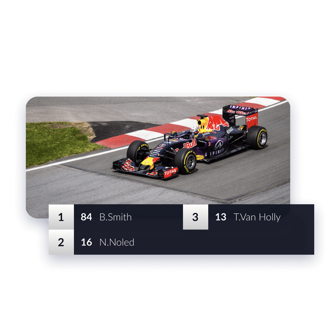 Motor racing video screen with real-time data panels showing race positions