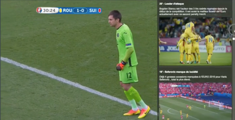 For our client TF1, one of France's official broadcasters of Euro 2016, our LViS platform powered a live overlay panel featuring line-ups, live stats and audience reactions.