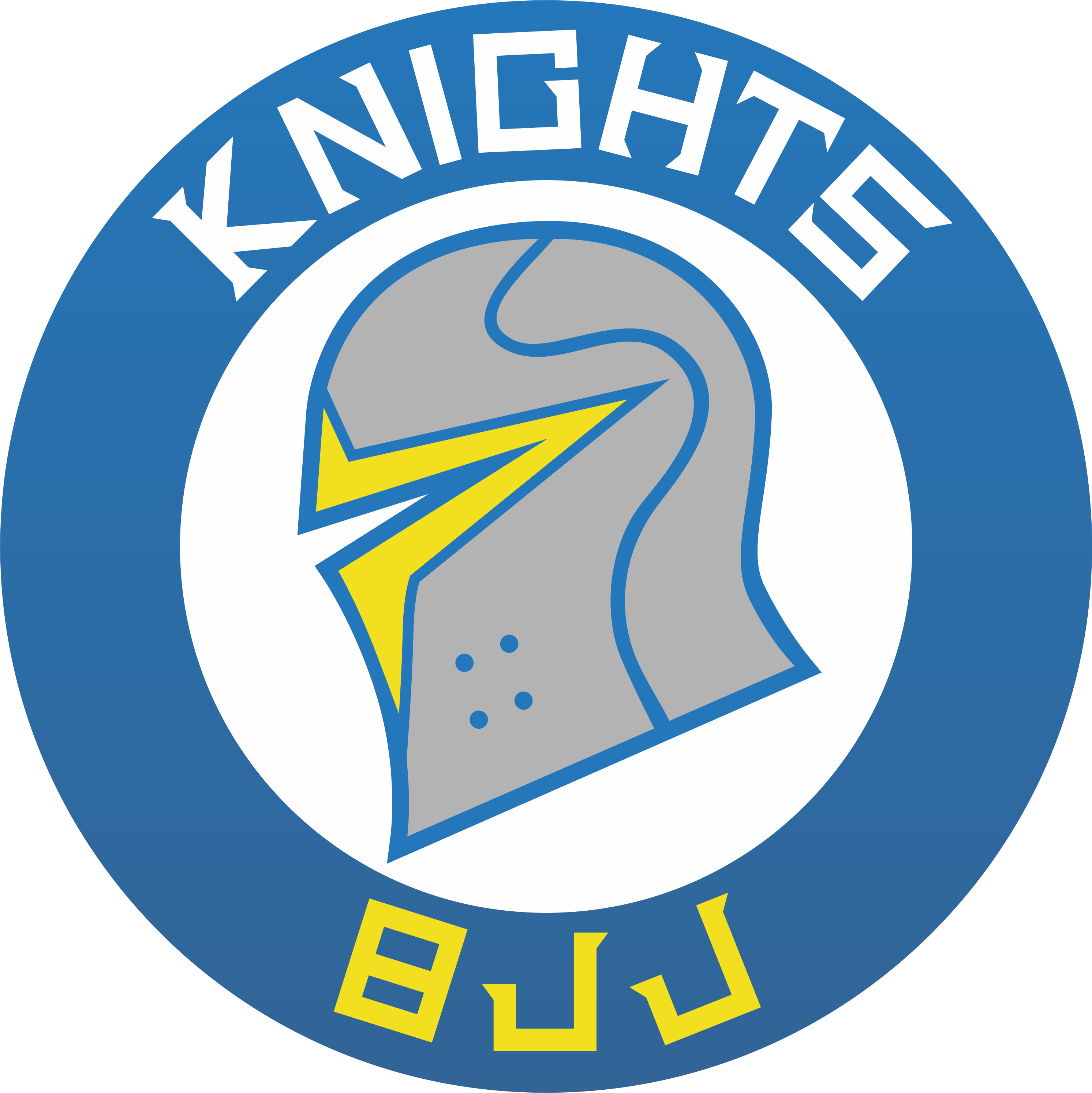 Knights BJJ Logo - A blue circle, with the words Around the top and bottom of it. The word Knights in white on top and BJJ in yellow on the bottom.  Inside the blue circle there is another white circle in between the words knights and bjj.  A side profile of a knights helmet colored grey is inside the white circle.