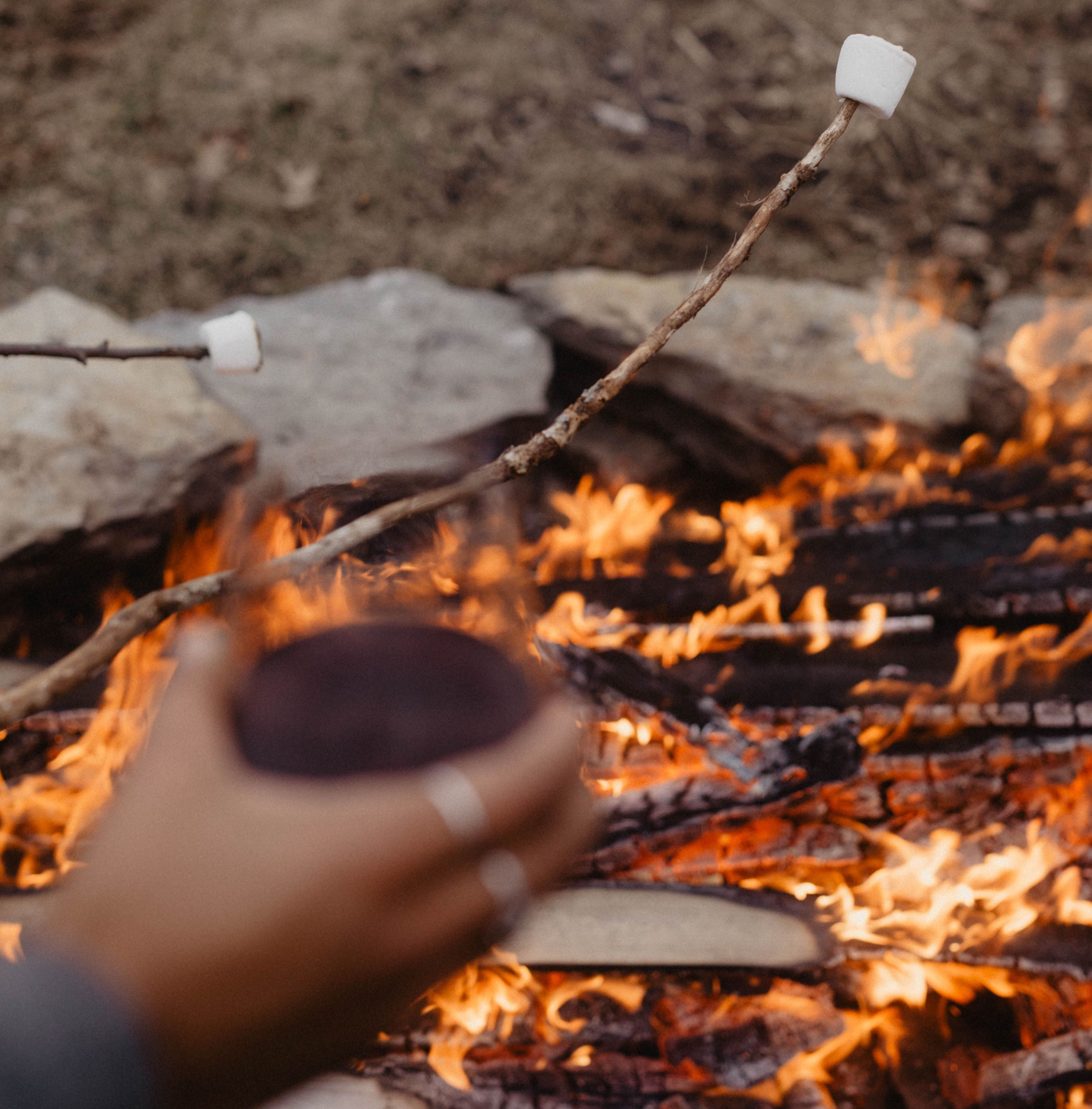 Marshmallows and wine by the campfire