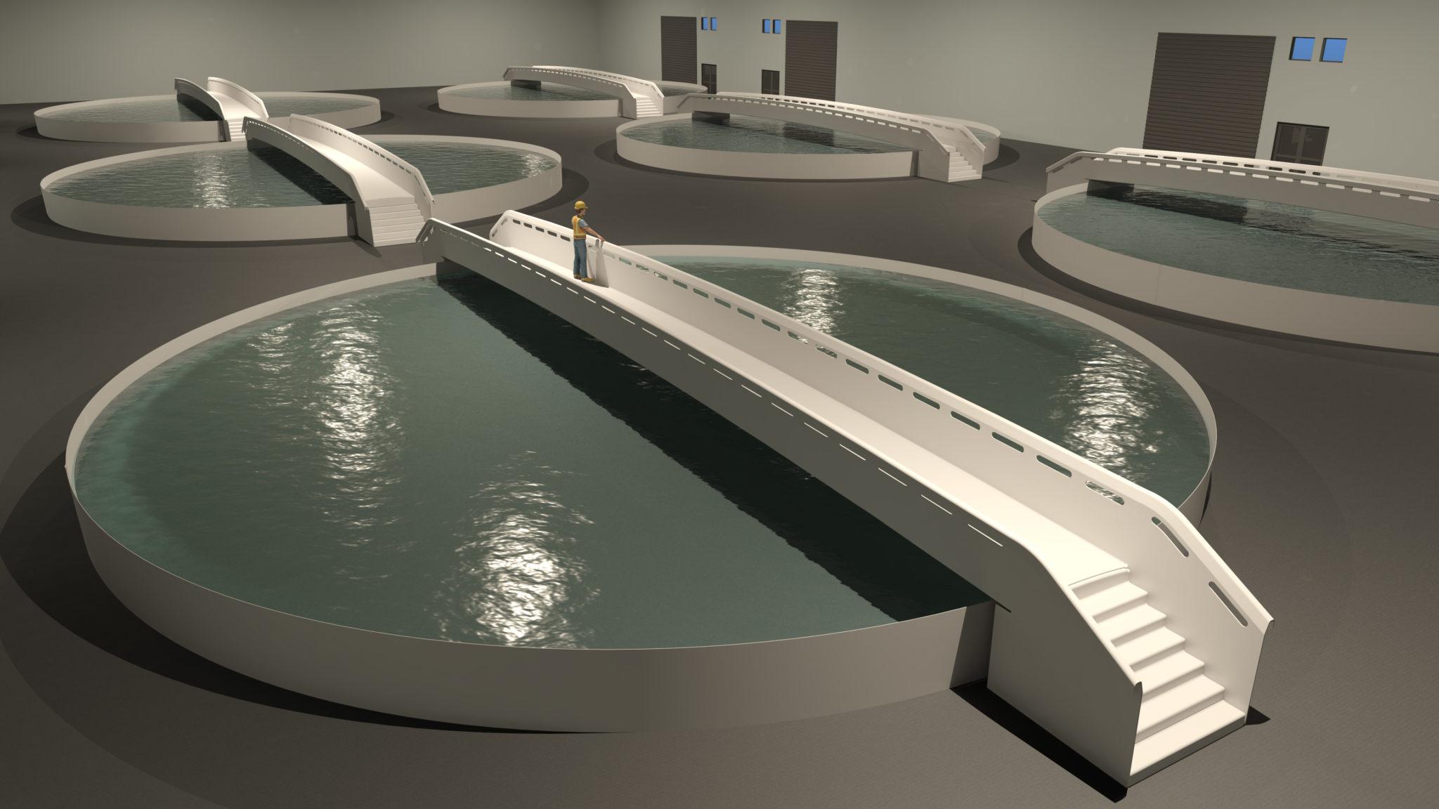 HighComp Aquaculture Fish Farming Tank and bridges