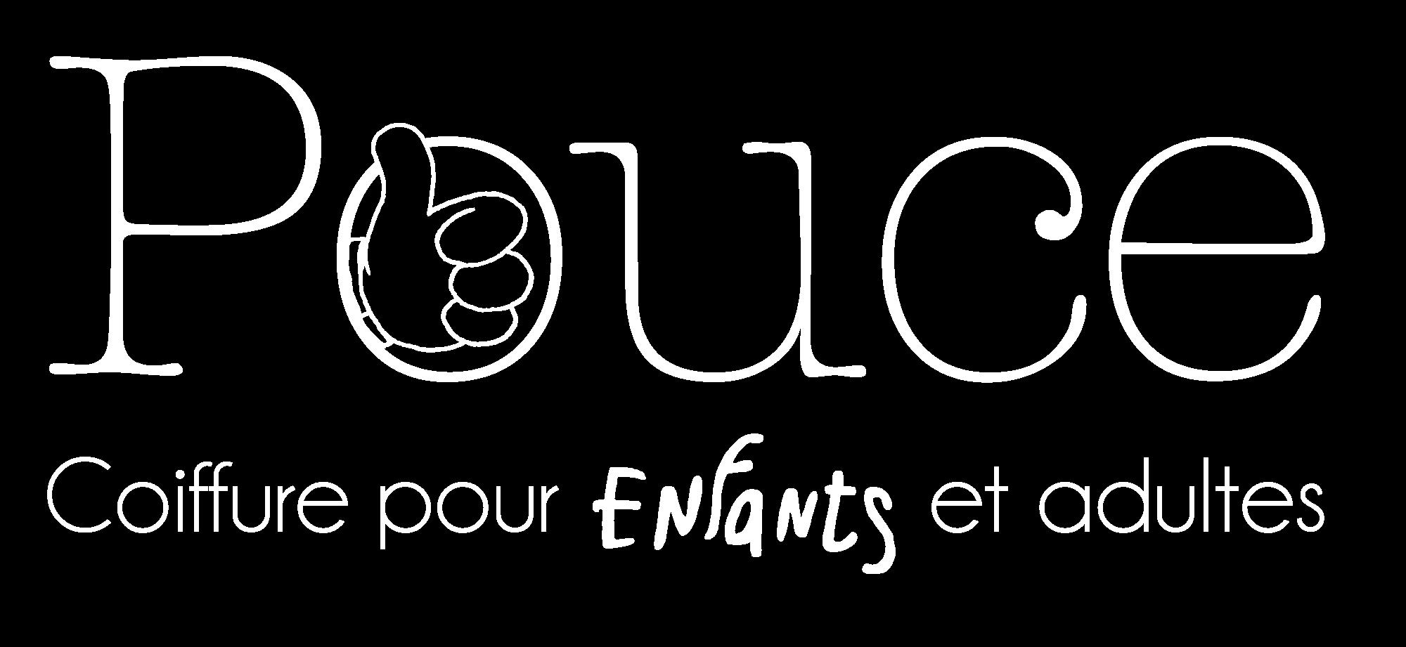 logo blanc Pouce coiffure pour enfants et adultes