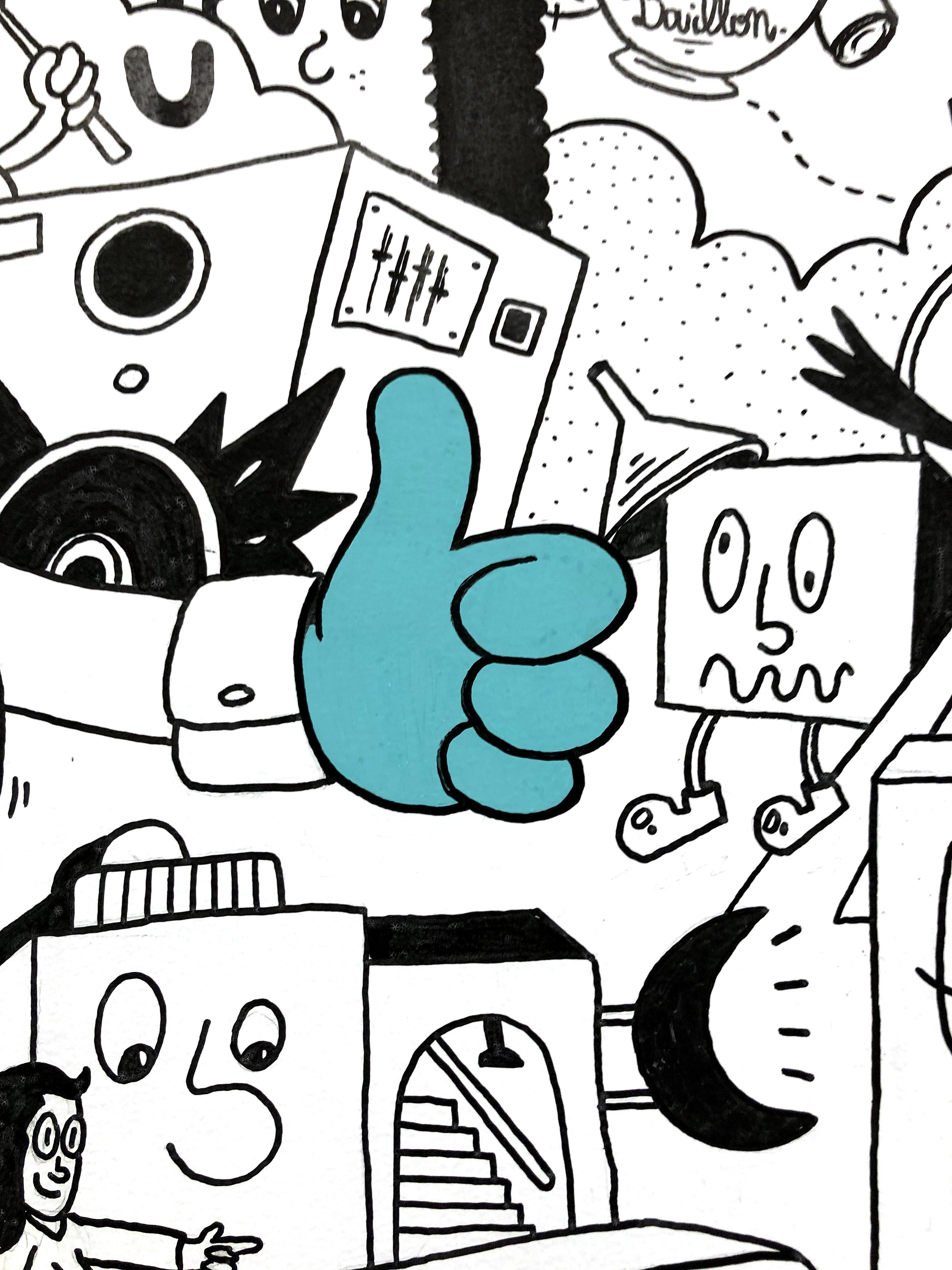 dessin pouce bleu avec fond illustrations