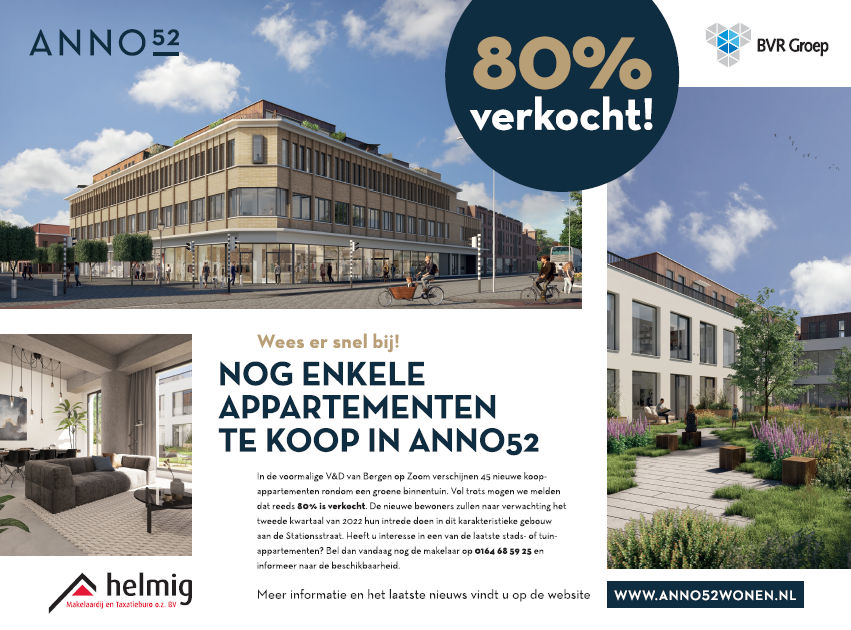 80% van de appartementen verkocht