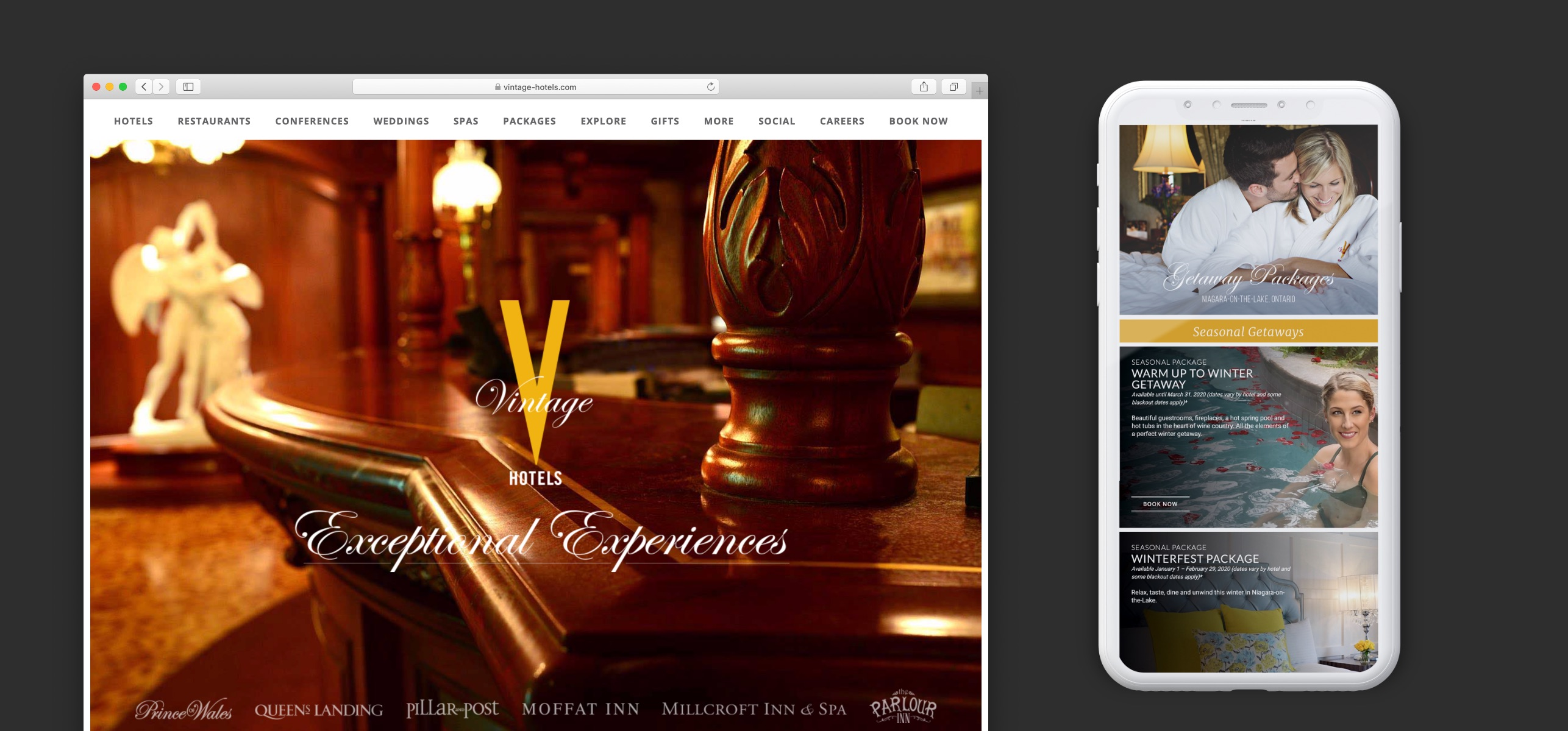 vintage hotels website design