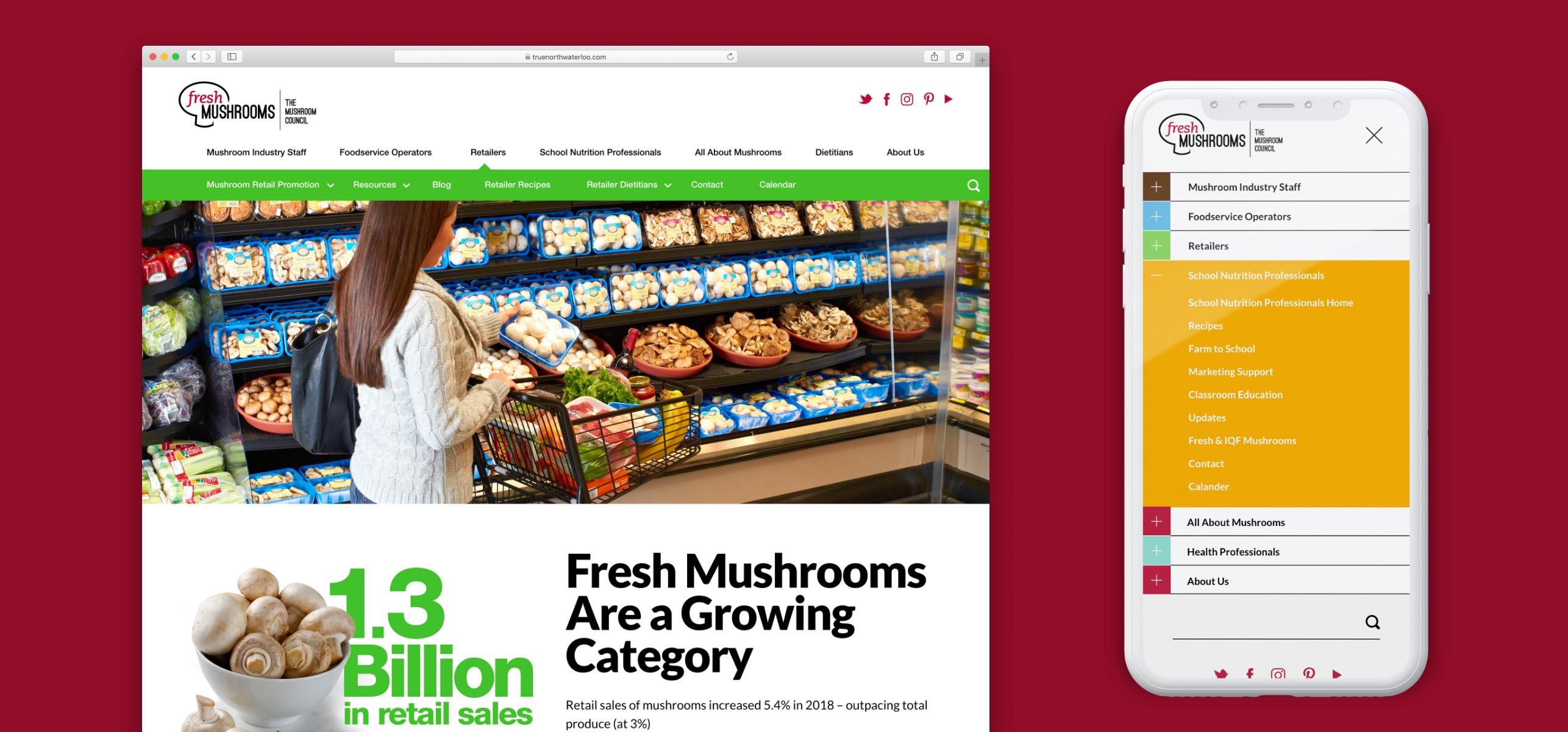 mushroom council website design