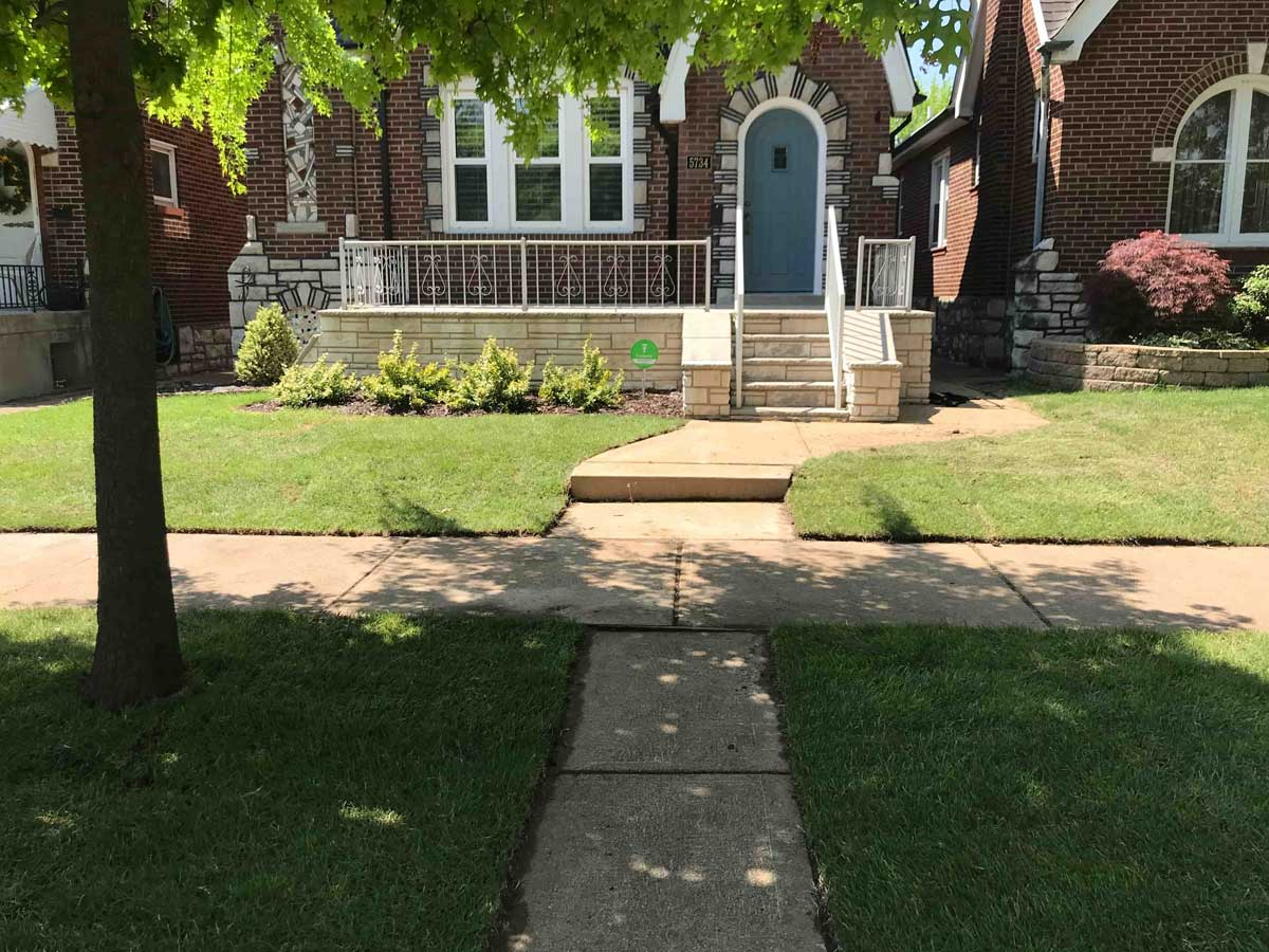 A home in St. Louis with sod installation