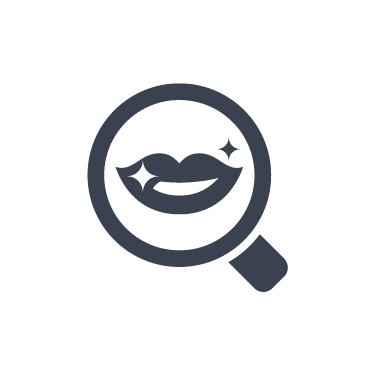 lips in magnifying glass icon