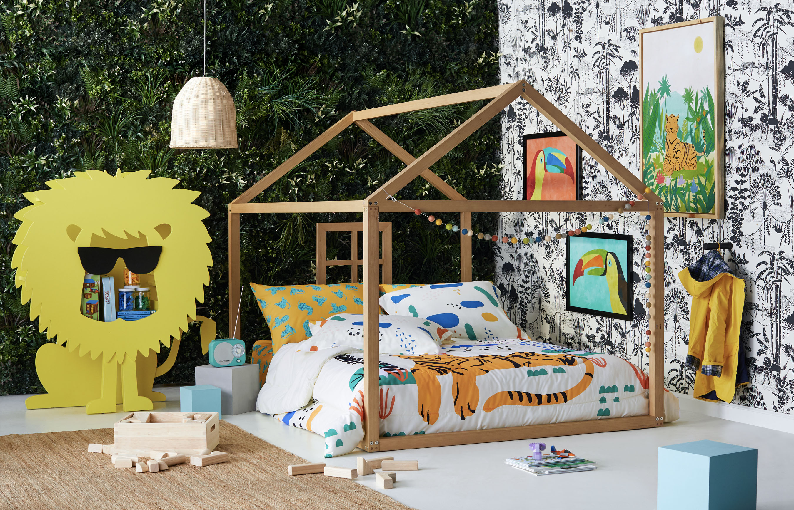 Photo of a kids bedroom with jungle designs