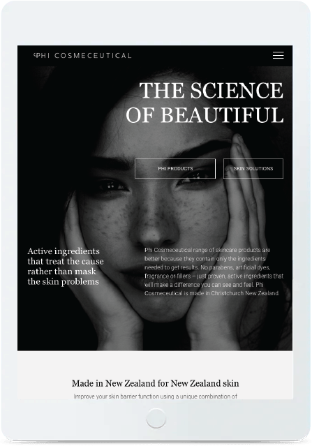 web mockup tablet phi cosmeceutical