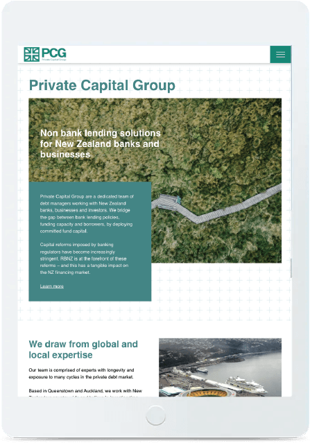 web mockup tablet private capital group