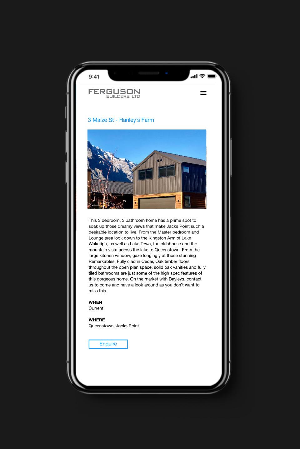 ferguson builders mobile mockup