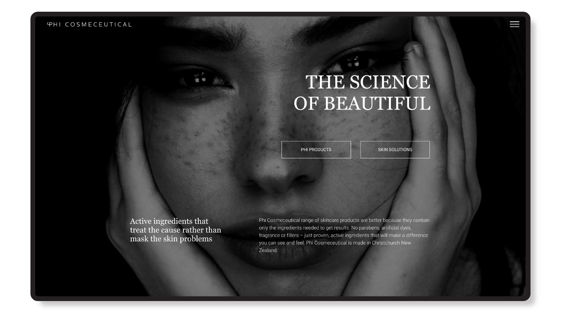 phi cosmeceutical homepage website