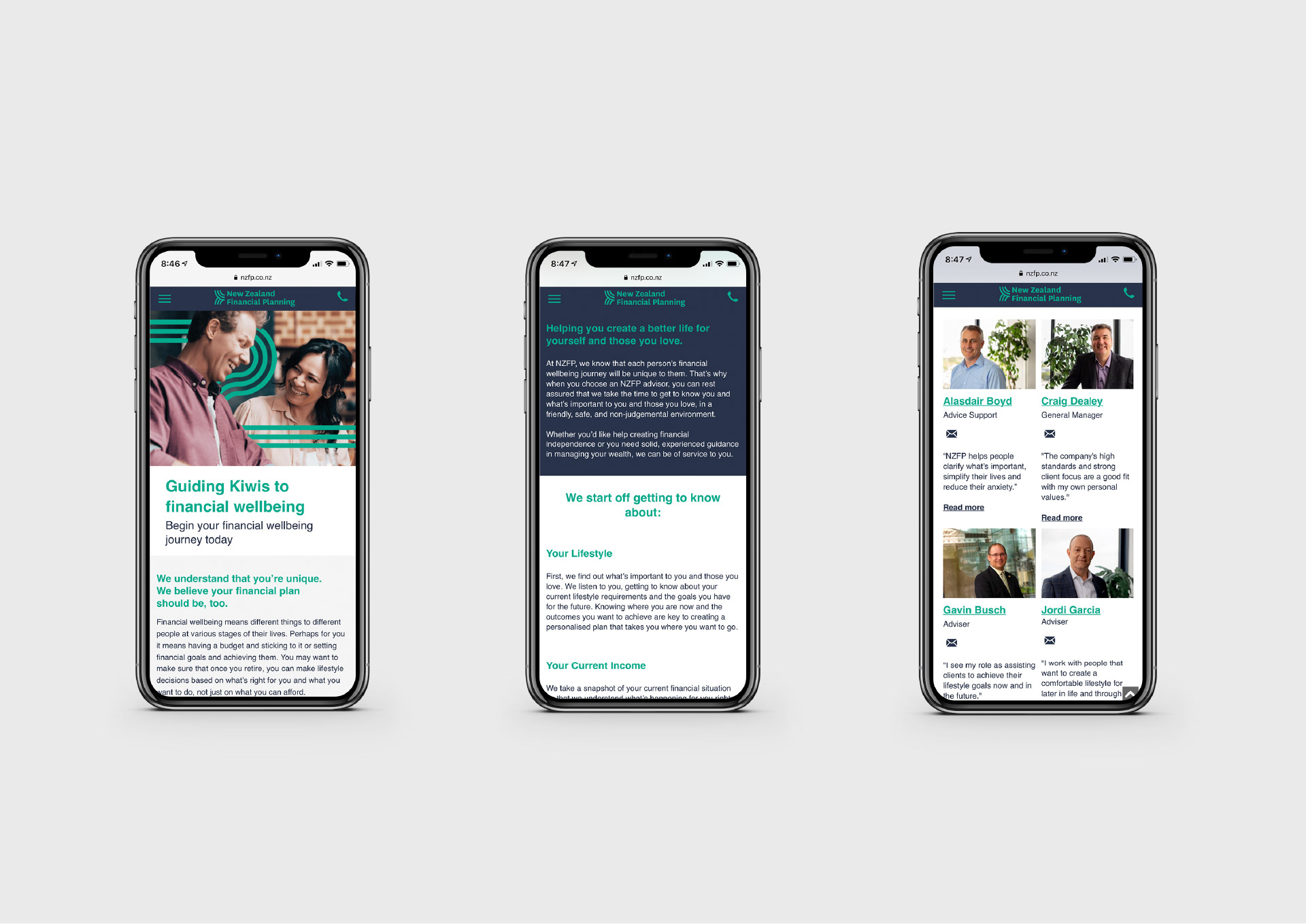 new zealand financial planning mobile mockup