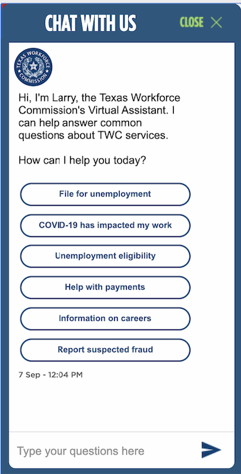 Texas Workforce Commission's Virtual Assistant 'Larry' Source: Texas Workforce Commission