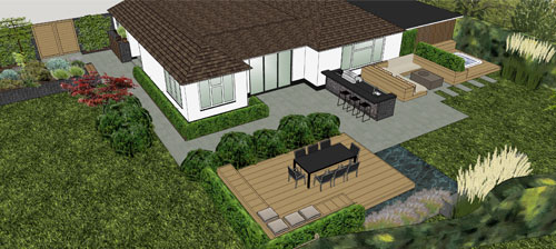 Outdoor Entertainment Area with Kitchen and Lounge Area, Hot Tub, Deck, Water Feature and Kitchen Garden, Cudham