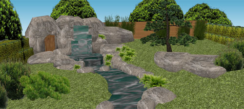 Large Water Garden Construction with Waterfall, Stream, Pond, Engineered Rock and Japanese Style Garden, Sevenoaks