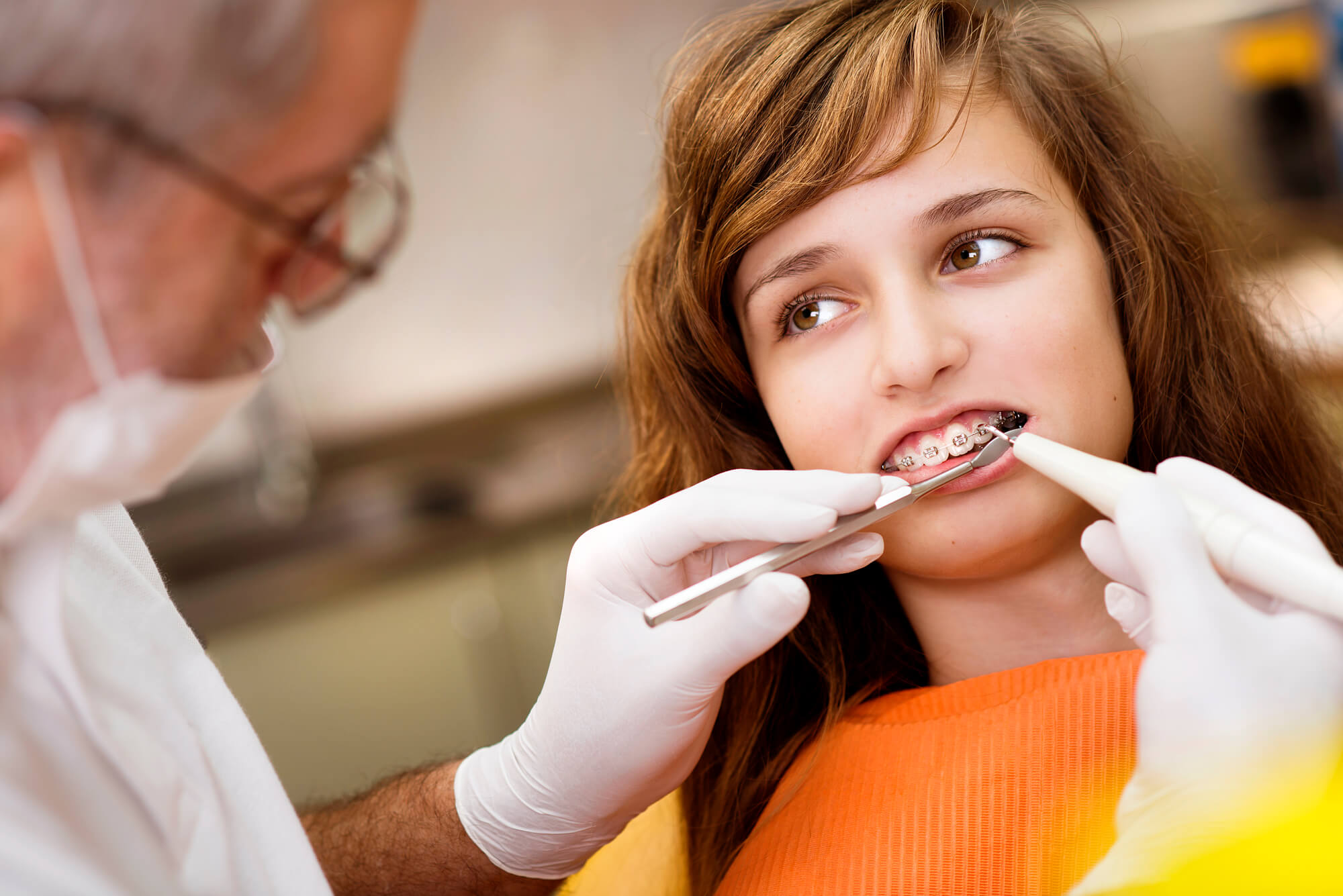little girl have adjustment on Braces in North Lauderdale