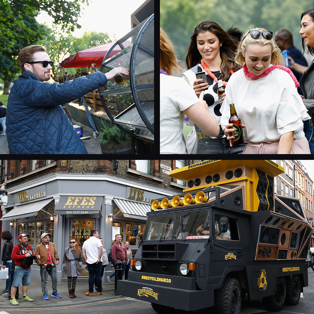 The Kopparberg Recycling rig driving around London. Passersby enjoying the experience.
