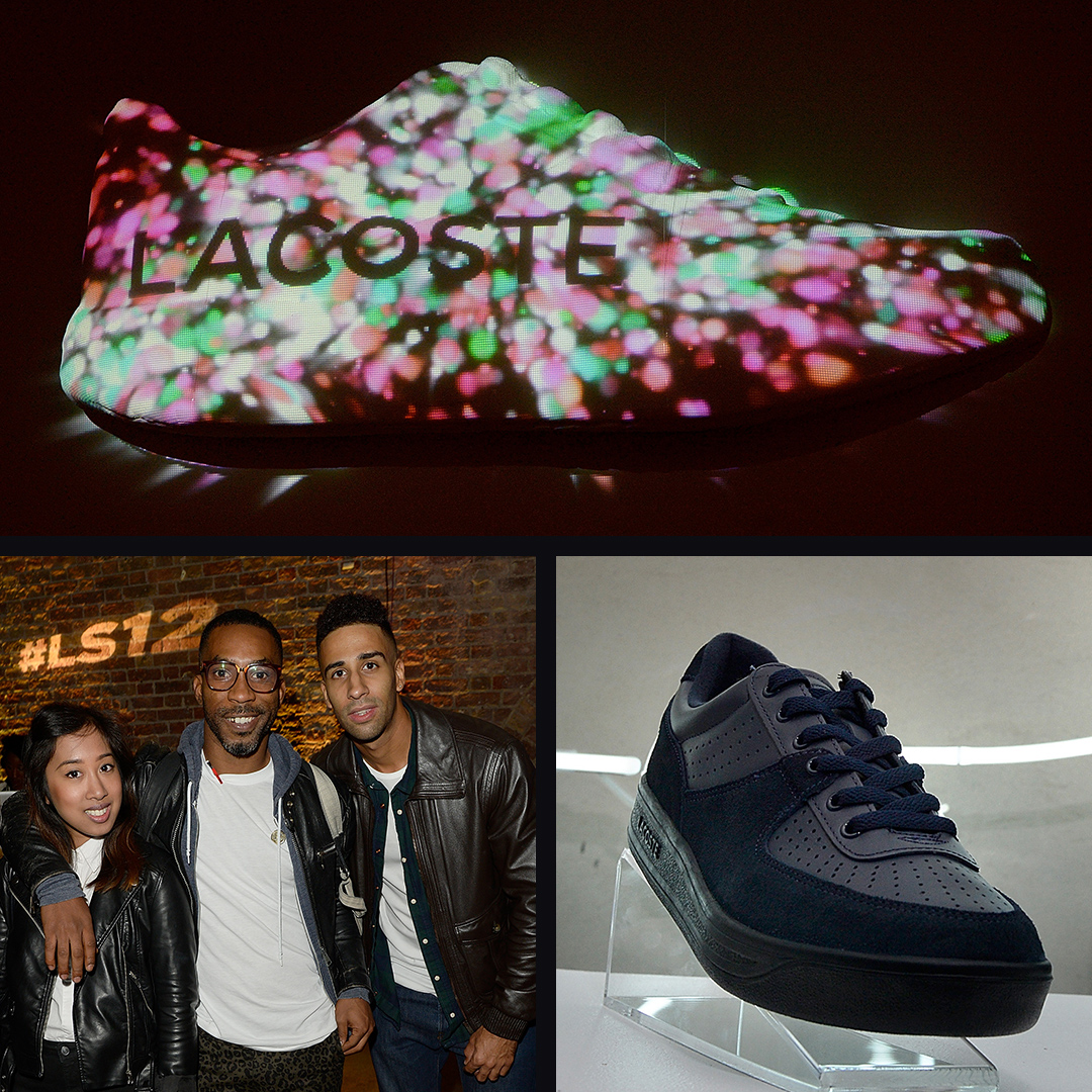 guests posing for a photo. Lacoste ls.12 shoe on podium. Lacoste motion graphics.