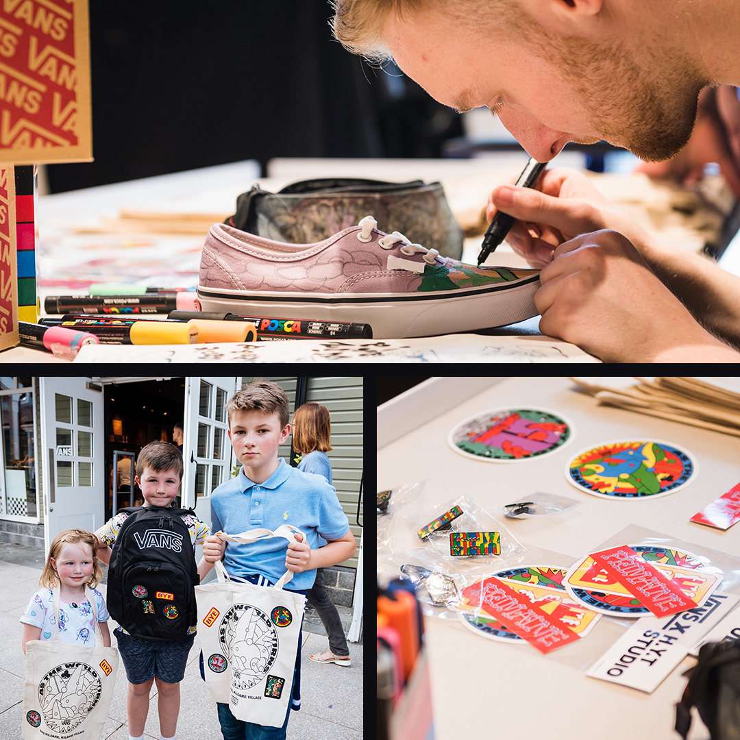 Illustrator working on shoe design for Vans. Children enjoying the event.