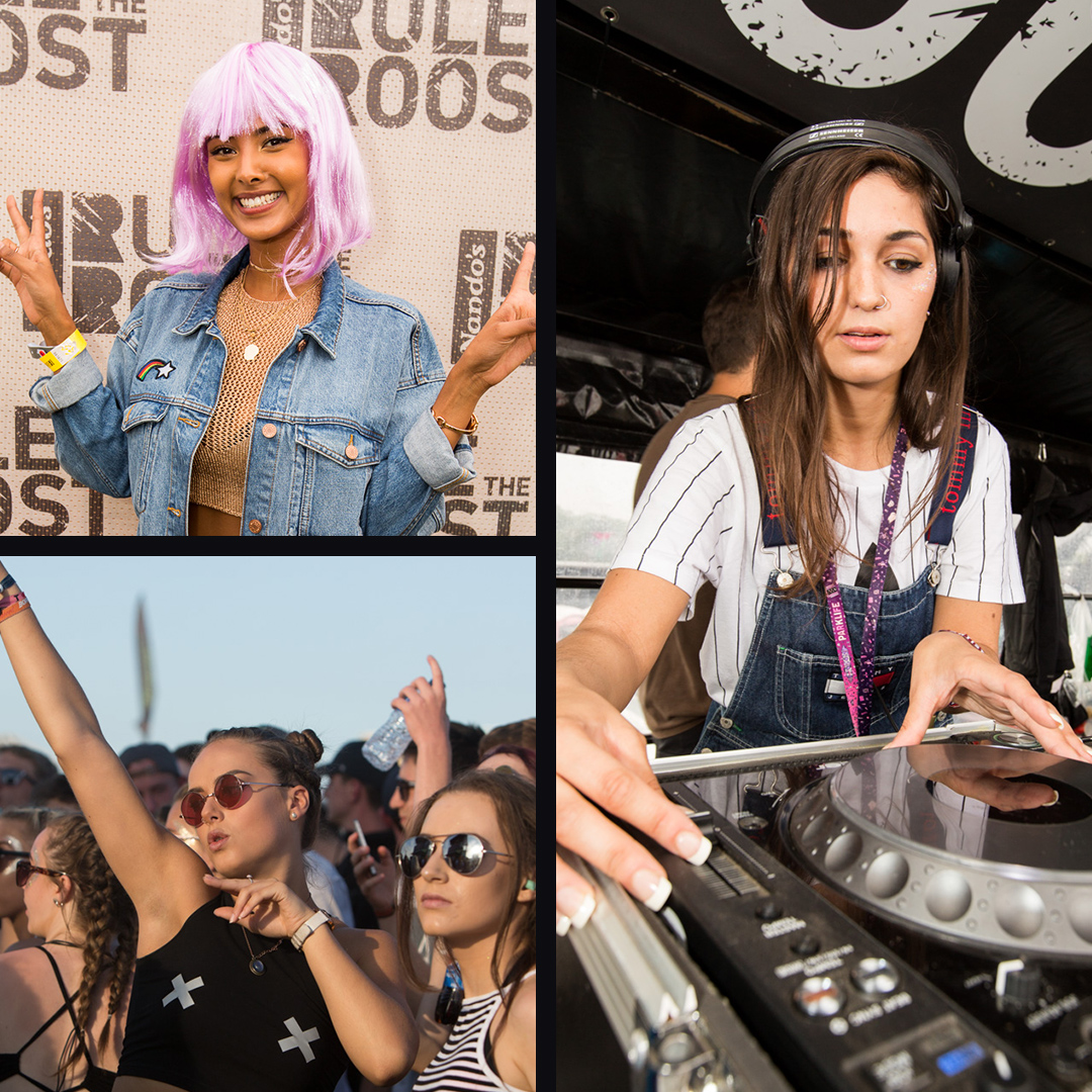 Maya Jama posing for Nandos rule the roost. DJ Barely legal playing jams at a festival.