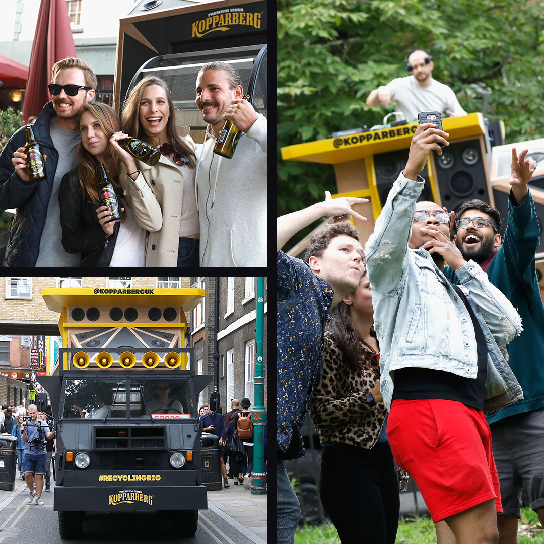 Participants posing for photos at the Kopparberg brand experience.