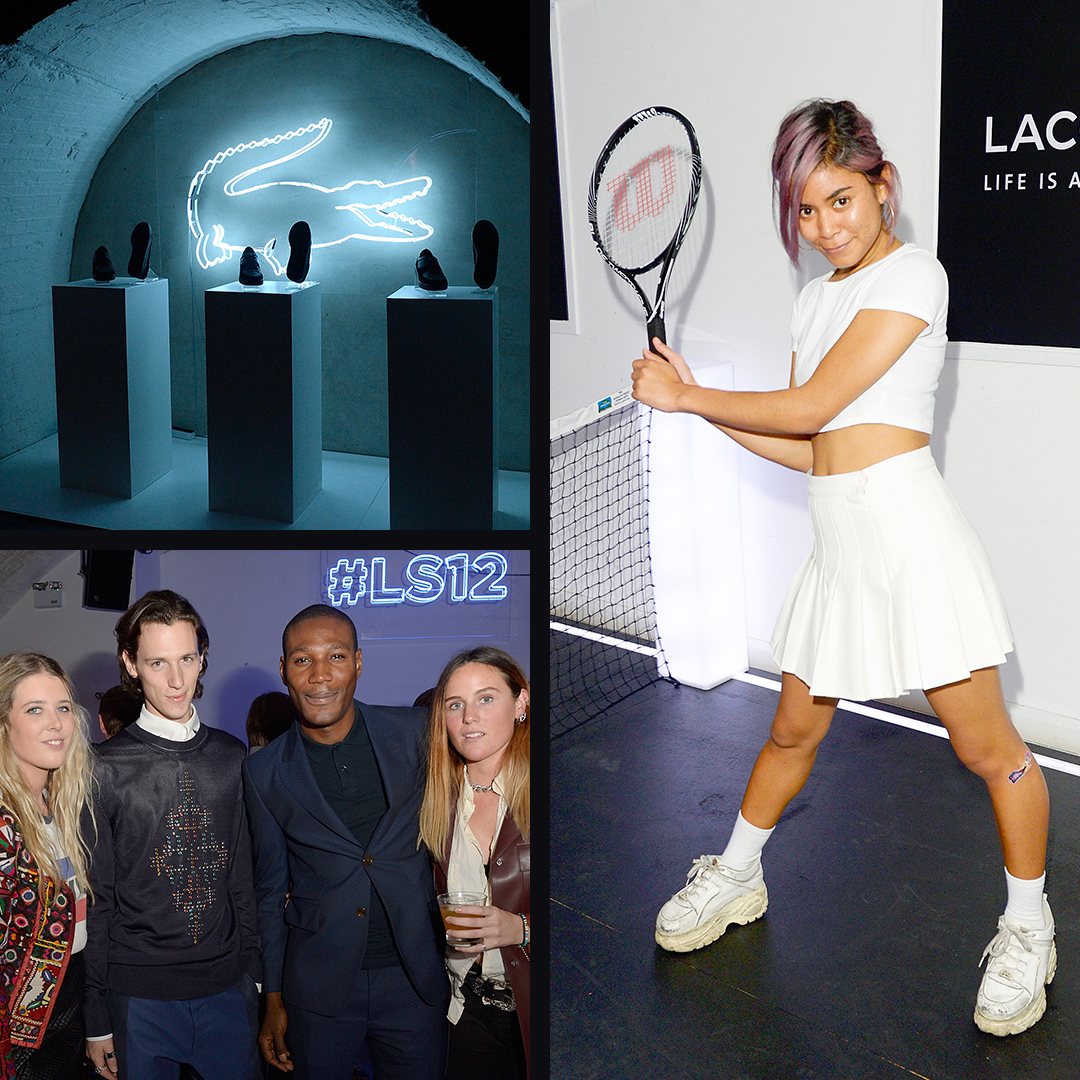 Woman holding tennis racket at Lacoste event. Guests posing for a photo. Podium of the LS.12 range.