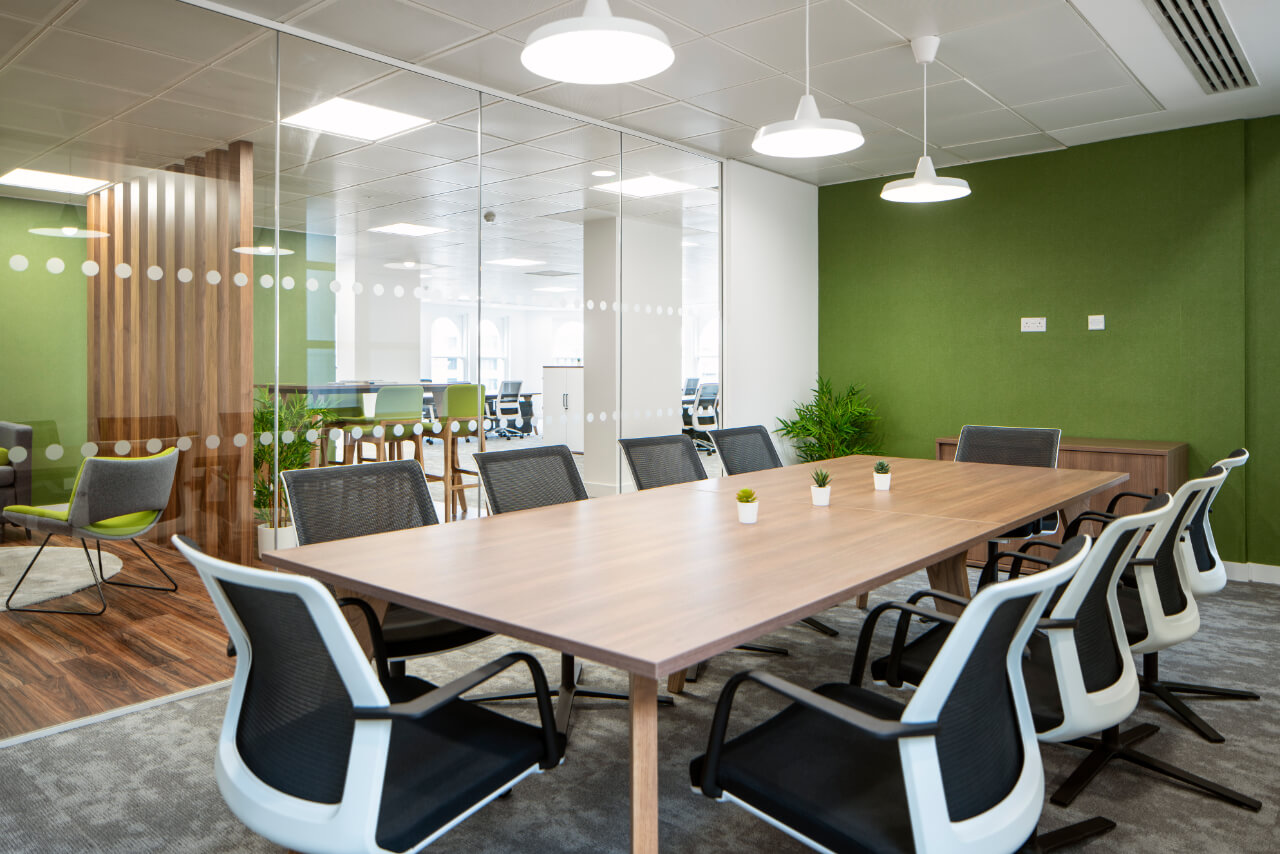 Modern conference Room with Green wall