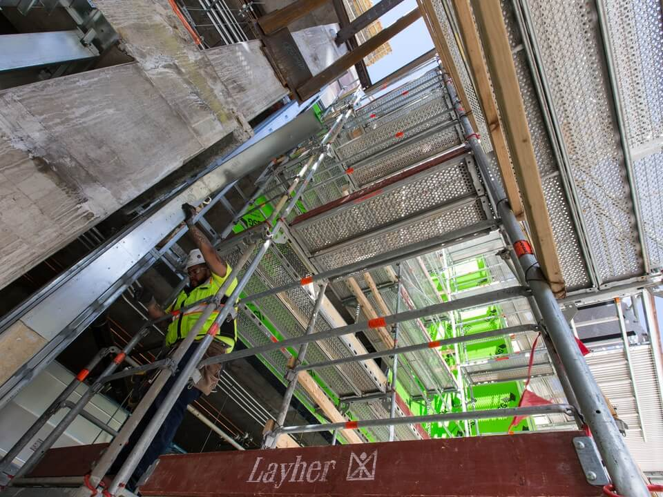 Safety harnessed scaffolding