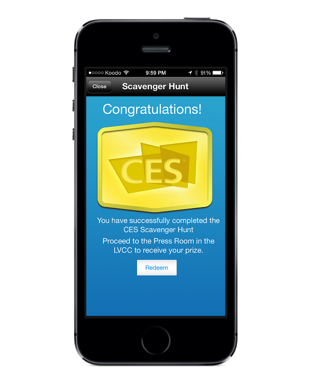 CES's event app with scavenger hunt notifications.