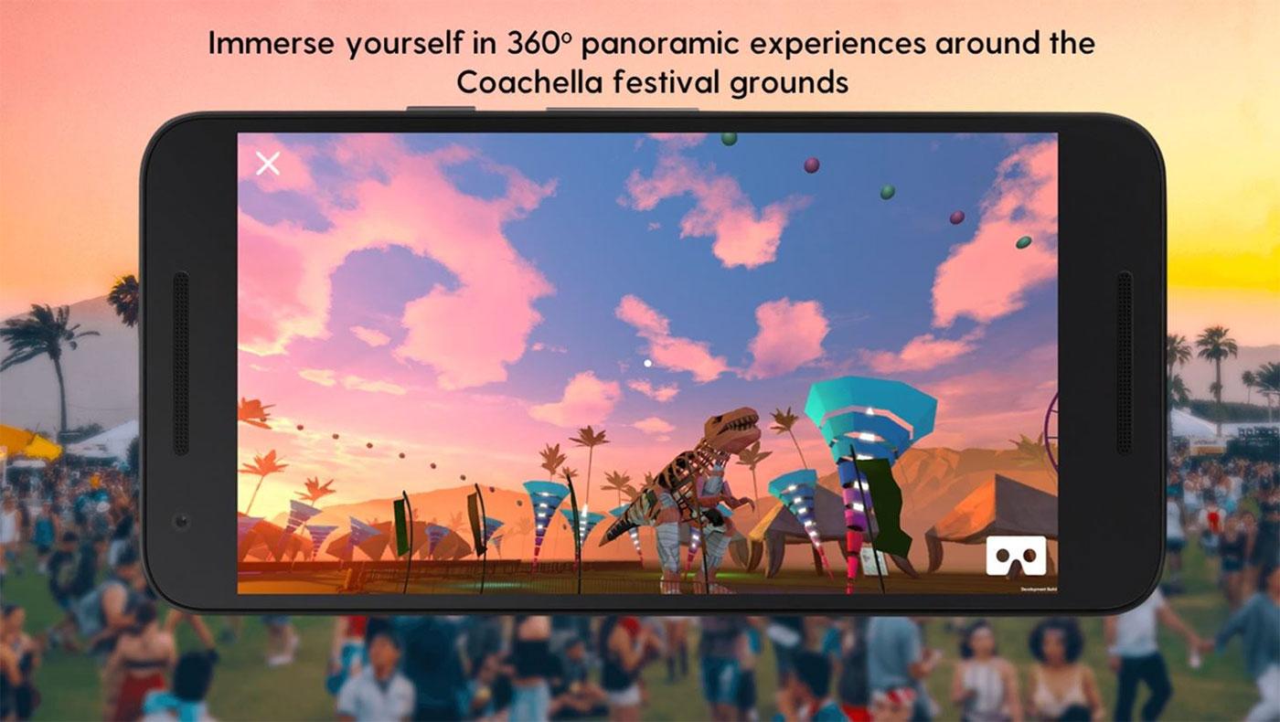 Coachella's AR app looking onto the festival grounds.