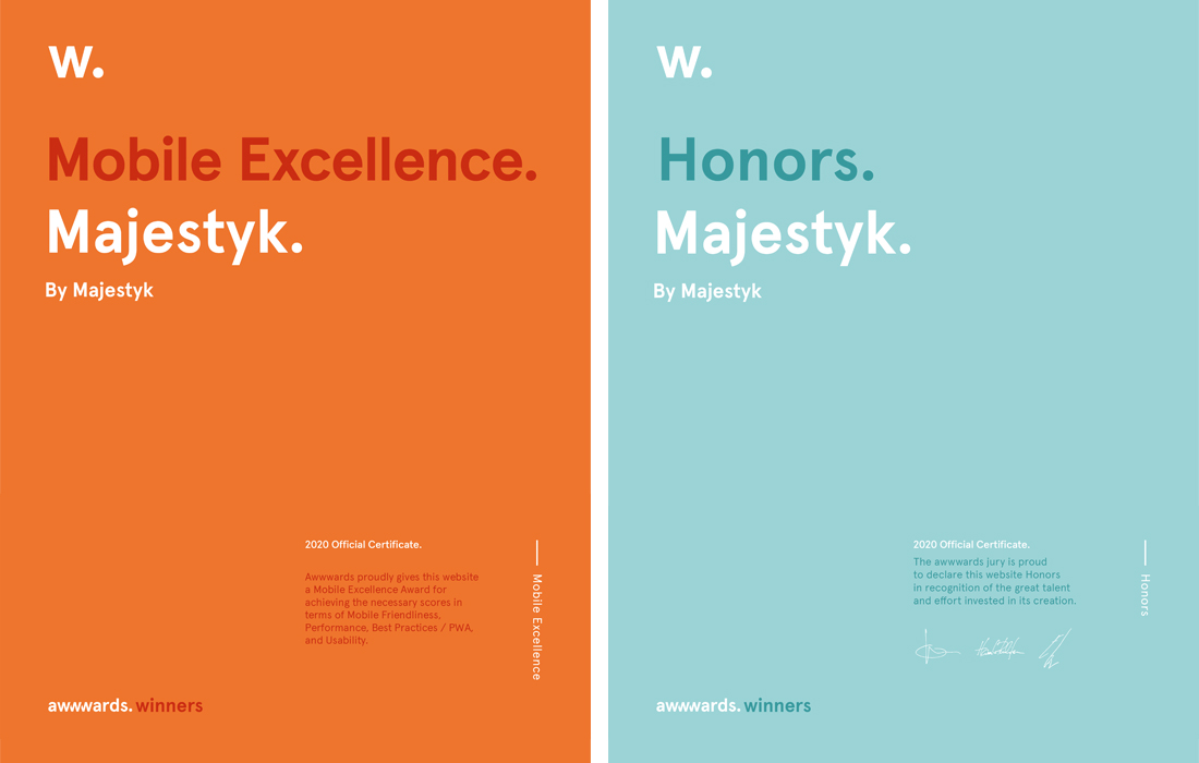 Majestyk Awwwards certificates for mobile excellence and honors.