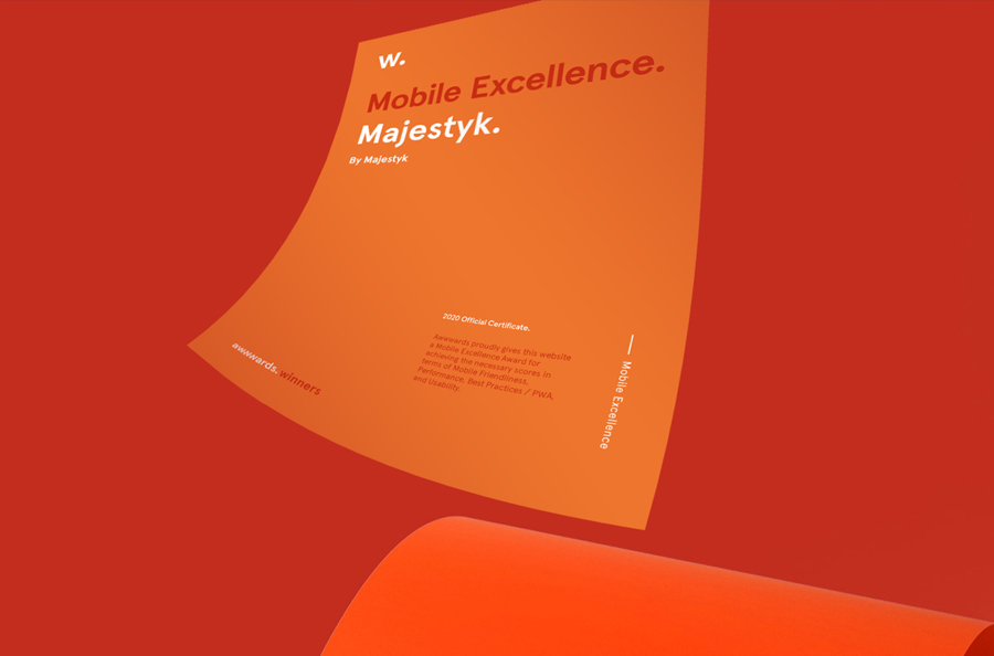 Awwwards 2020 certificiate for Mobile Excellence