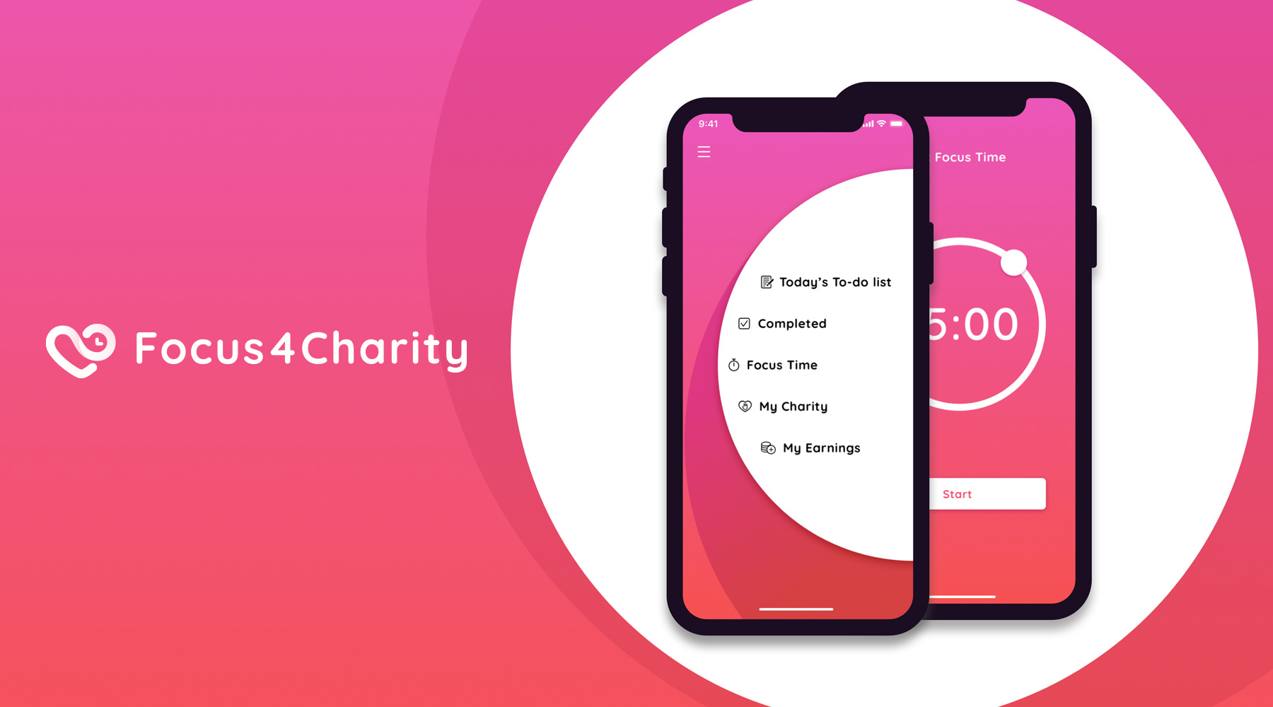 Focus4Charity App Preview.