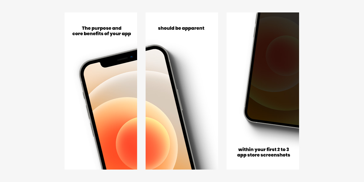 App Store screenshots optimized to convey core benefits within the first 3 screens