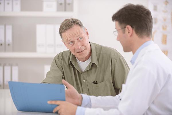 Patient discusses sinus treatment with ENT