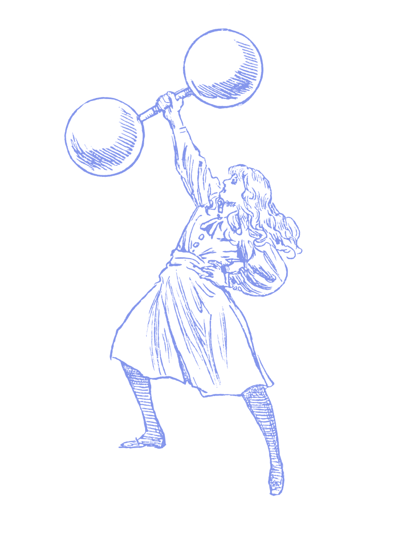 Illustration of a woman holding a large dumbbell