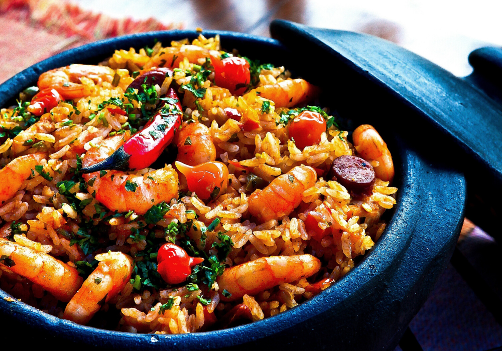 Rice-shrimp meal.
