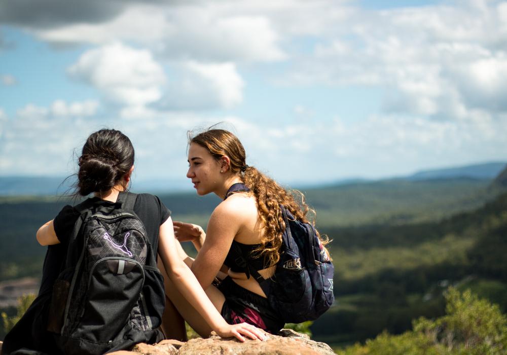 Girls on a hike.