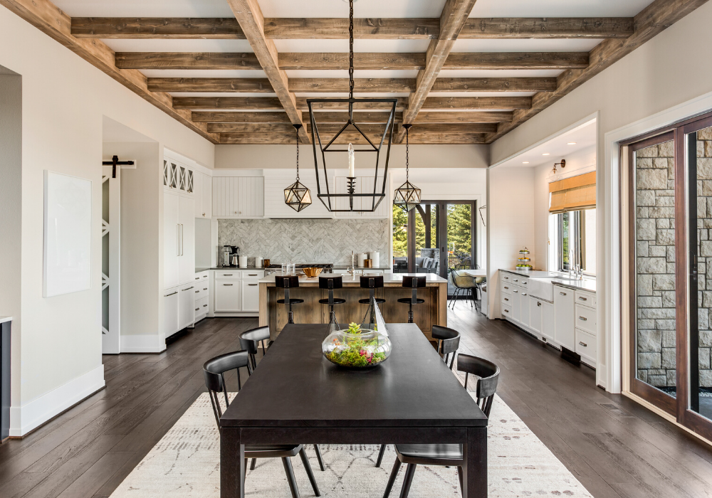 Luxury home interior with beams.