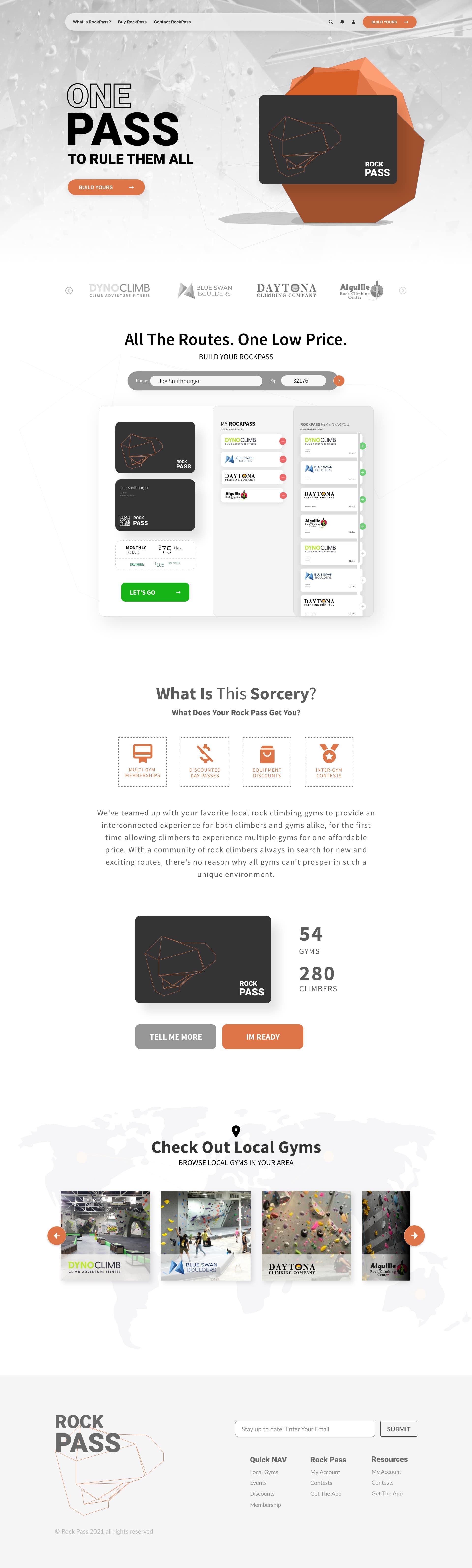 ux design full page image of custom adobe xd website design for Rock Pass