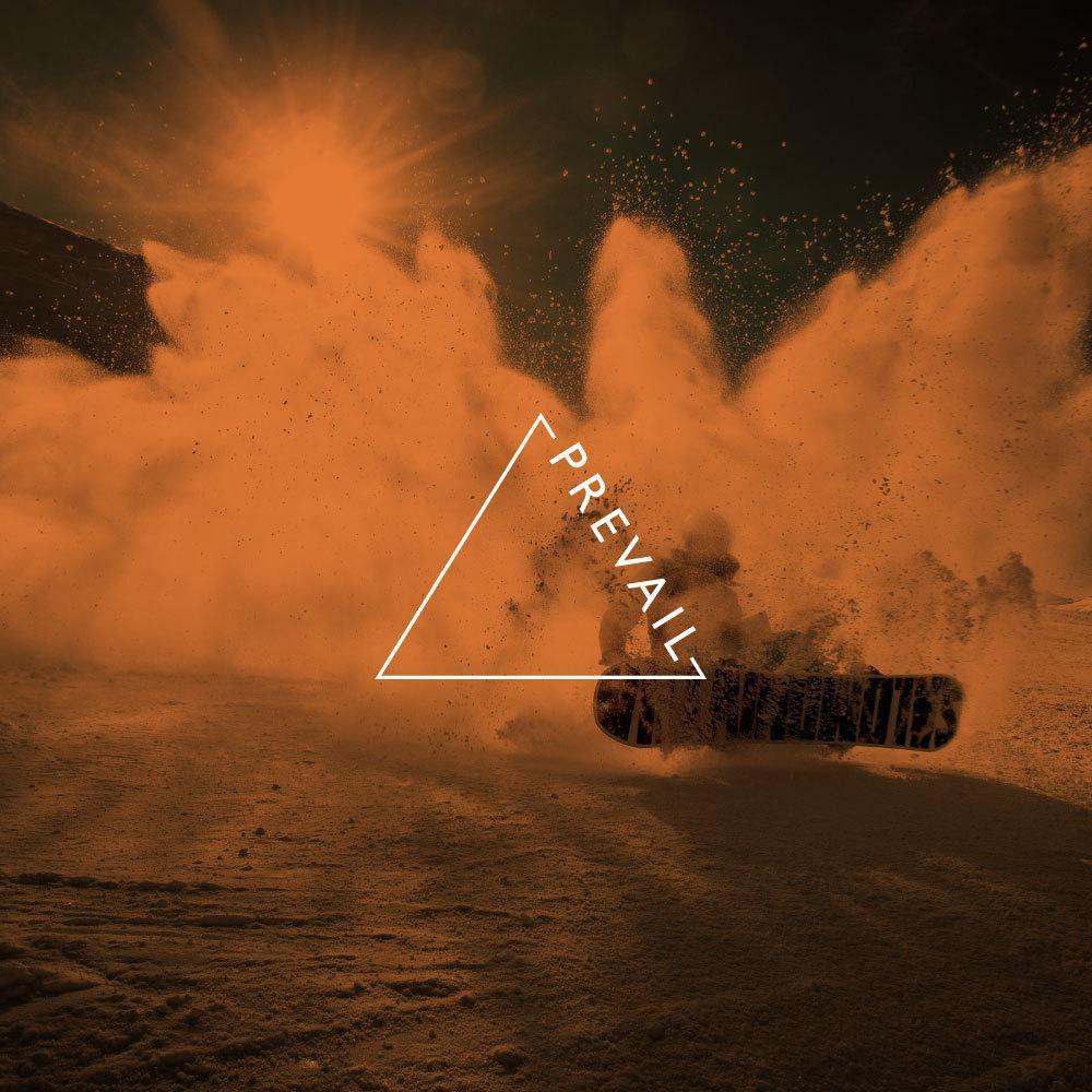 concept custom logo, snowboarder spraying snow with orange hue