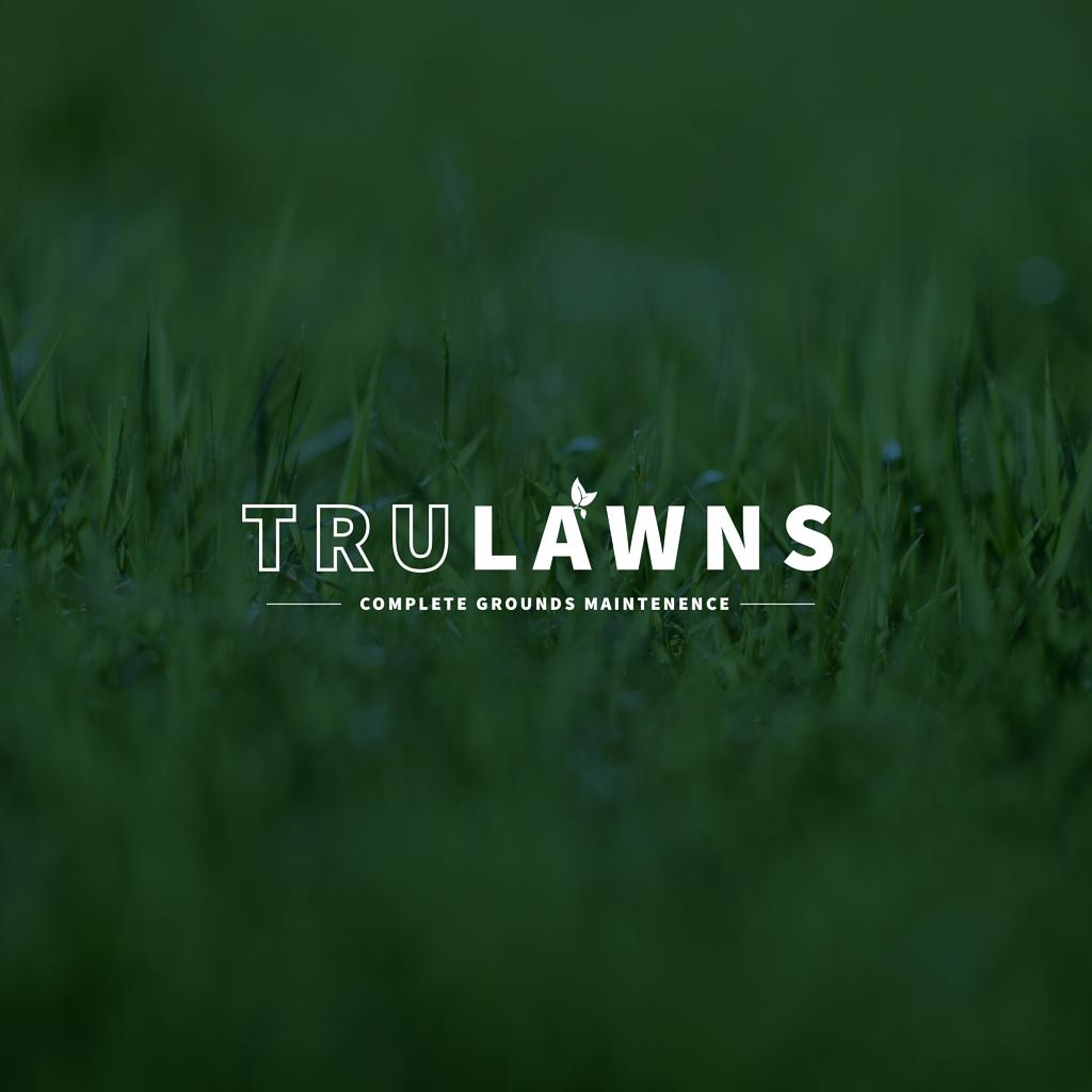 concept custom logo design for lawn company white letters with green background