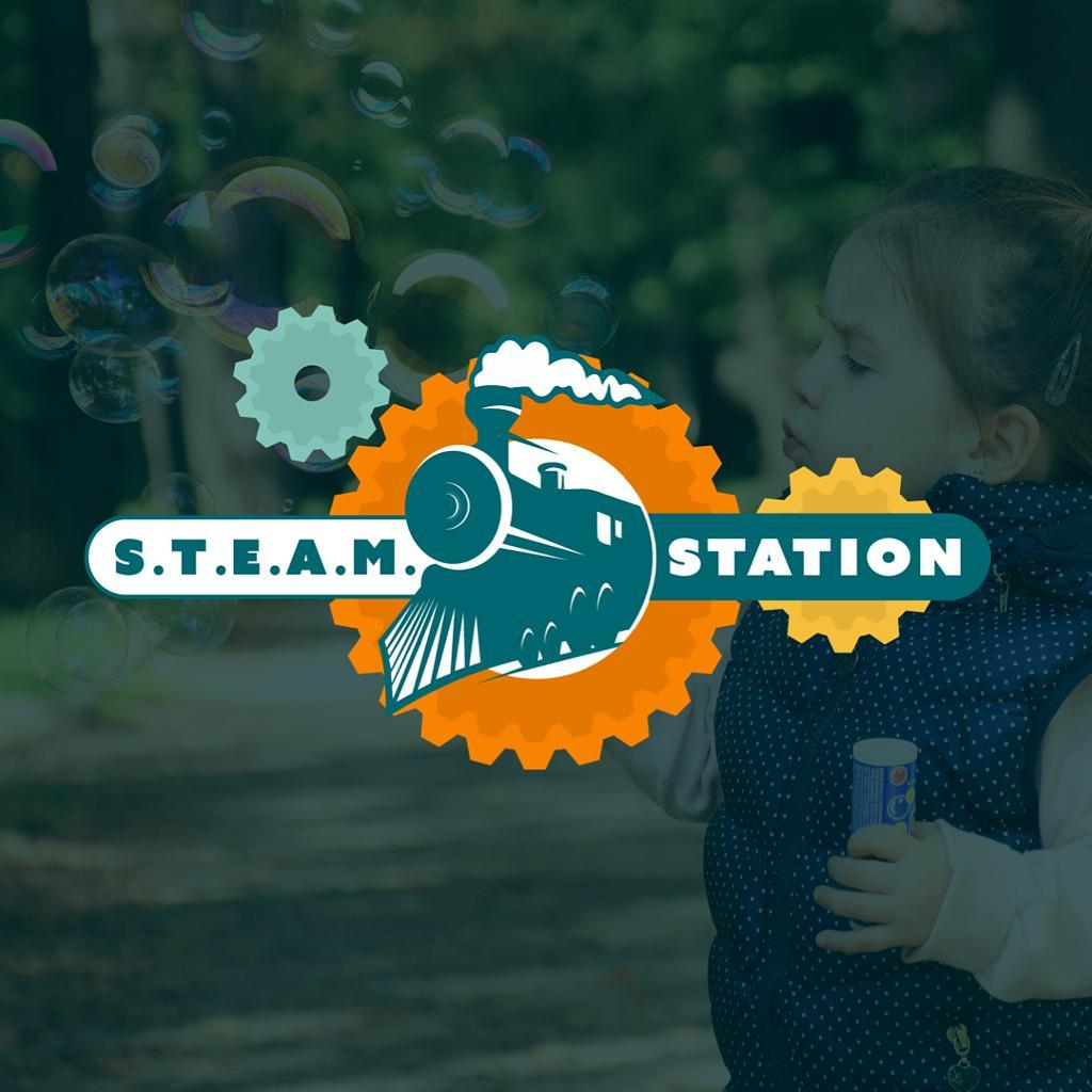 custom logo design for steam station learning center. train in orange gear with smoke coming from stack