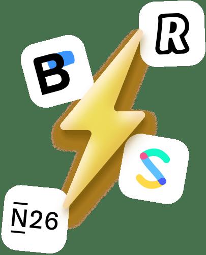 Illustrations d'éclair avec différents logos