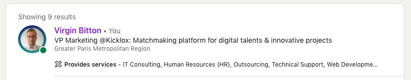 Screenshot d'un profil Linkedin avec l'option Provide Services activée