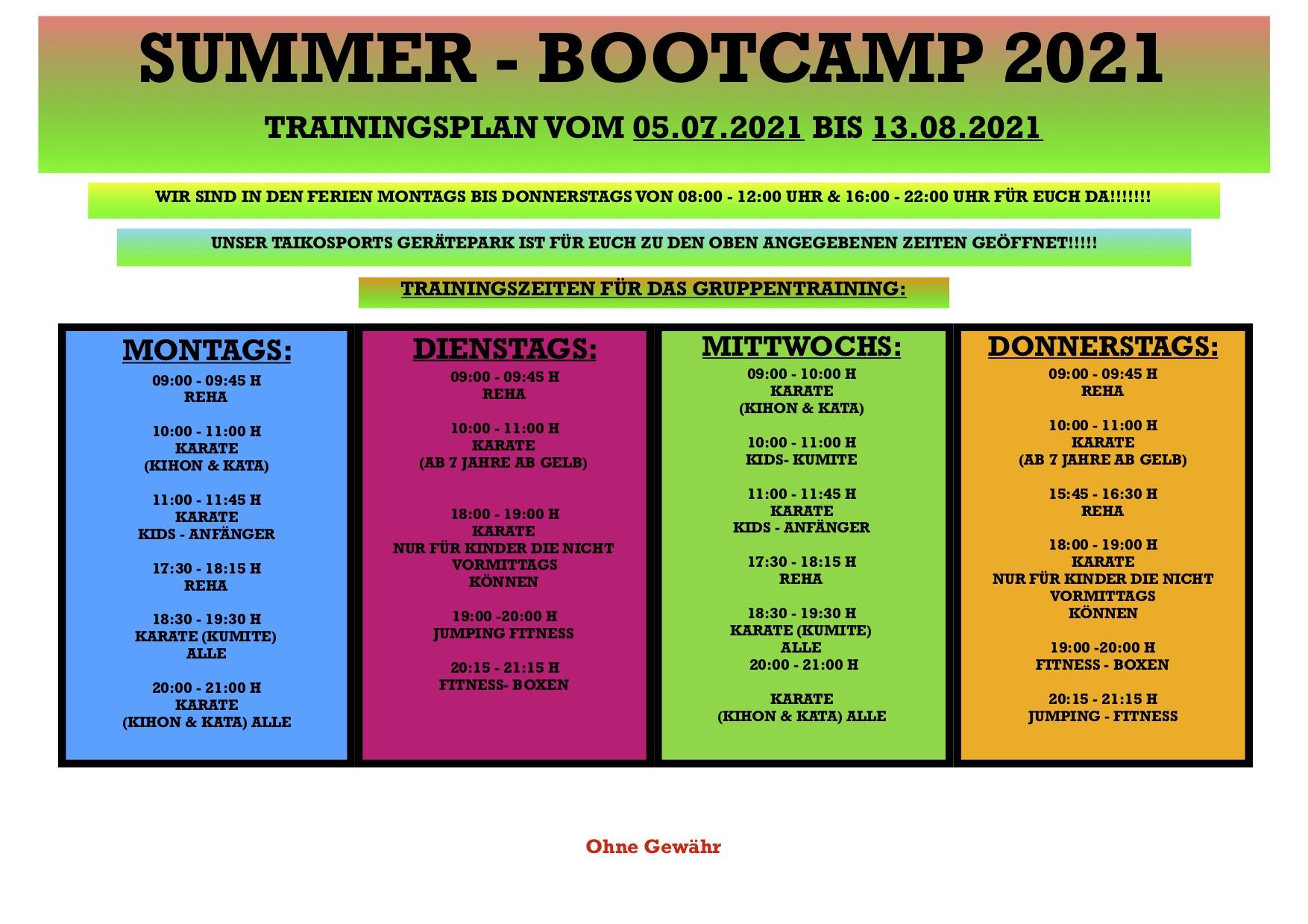 Trainingsplan für die Sommerferien ab 05.07.2021