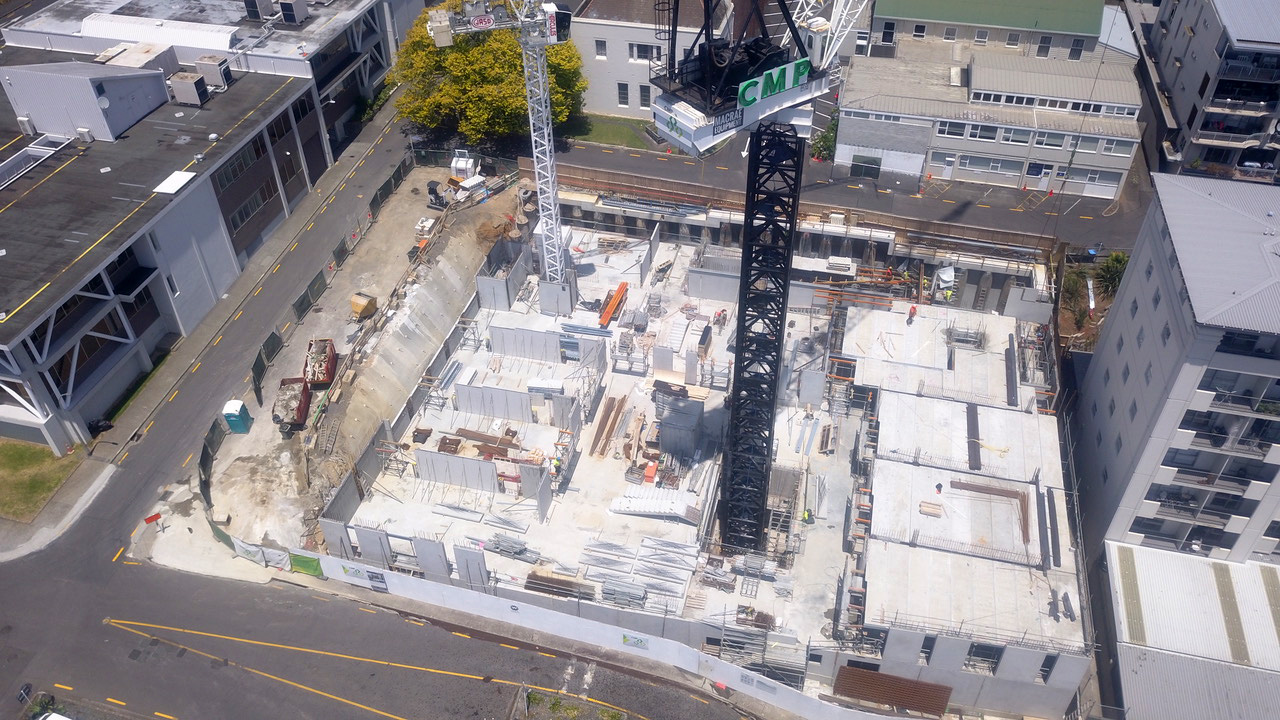 Aerial view of Neo apartments construction 2019
