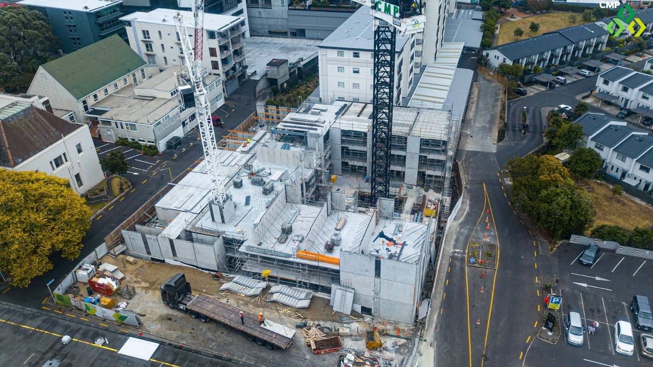 Aerial view of Neo apartments construction Feb 2020